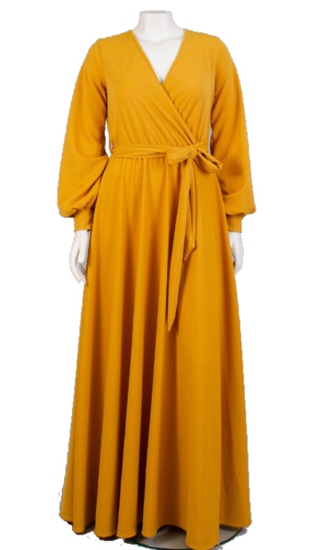 Karen T Designs T5056 ( 1pc Long Sleeve Mock Wrap Dress )