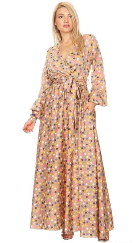 Karen T Designs 5056D ( 1pc Long Sleeve Polka Dot Maxi Dress )