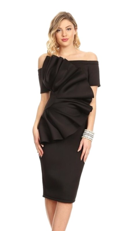 Karen T Designs 5058 ( 1pc Off Shoulder Ruffle Scuba Dress )