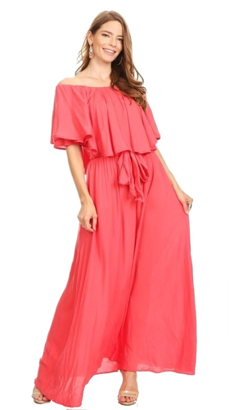 Karen T Designs 5071 ( 1pc Off Shoulder Ruffle Maxi Dress )