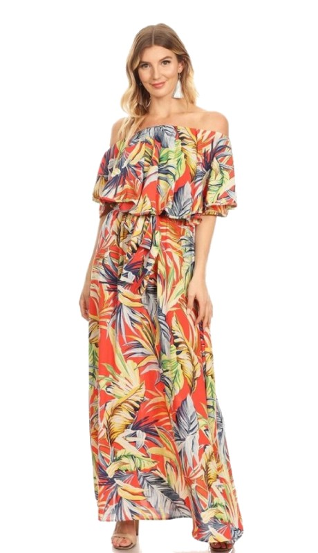 Karen T Designs 5071P ( 1pc Off Shoulder Ruffle Print Maxi Dress )
