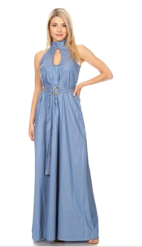Karen T Designs 5073 ( 1pc Sleeveless Keyhole Belted Maxi Dress )