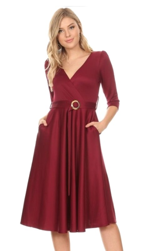 Karen T Designs 5091 ( 1pc Three Quarter Sleeve Belted Dress )