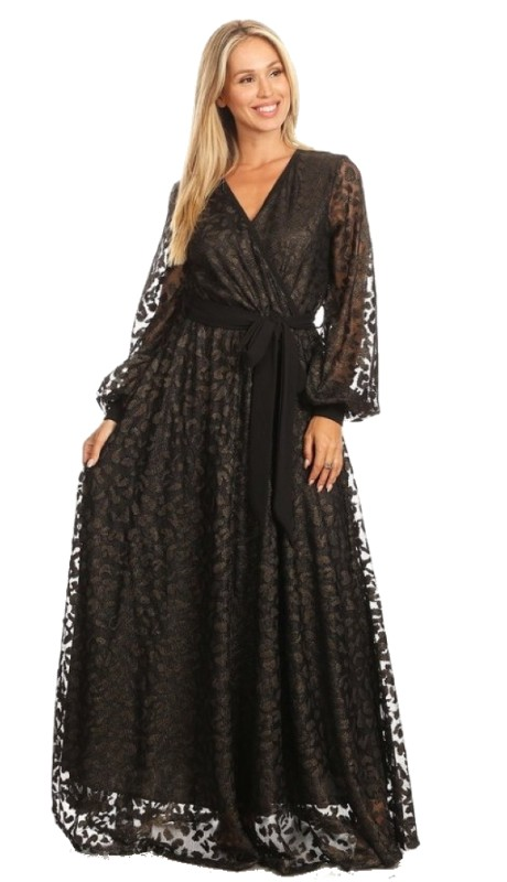 Karen T Designs 5092 ( 1pc Sheer Sleeve Maxi Dress )
