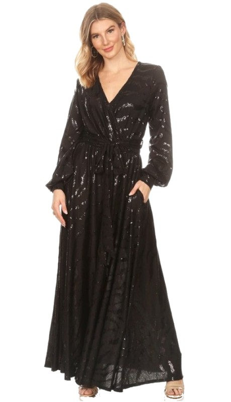 Karen T Designs 5095 ( 1pc Long Sleeve Mock Wrap Maxi Dress )
