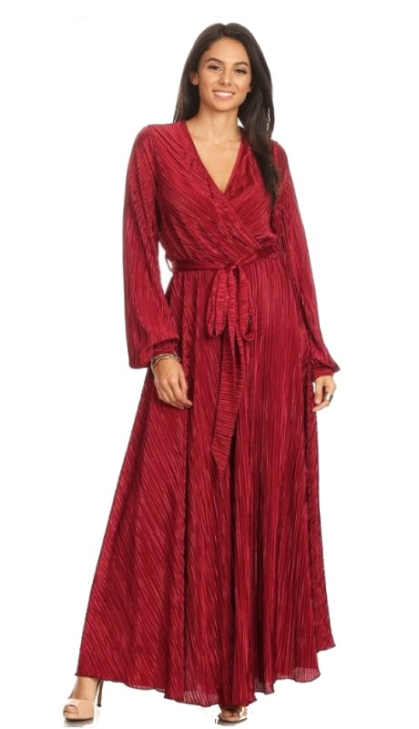Karen T Designs 5098 ( 1pc Long Sleeve Belted Pleated Maxi Dress )