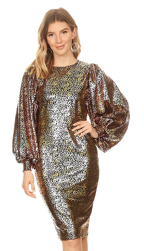 Karen T Designs 5102 ( 1pc Puff Sleeve Metallic Print Midi Dress )