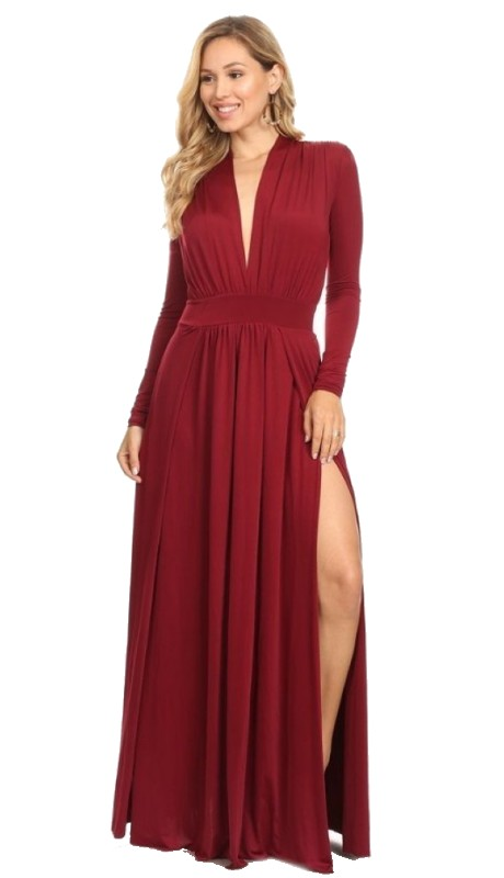 Karen T Designs 5854 ( 1pc Long Sleeve V-neck M-Split Maxi Dress )