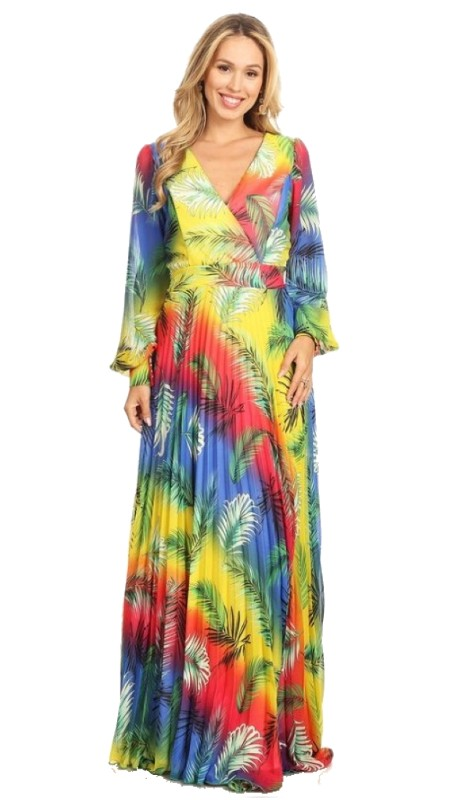 Karen T Designs 7006 ( 1pc Long Sleeve Pleated Maxi Dress )