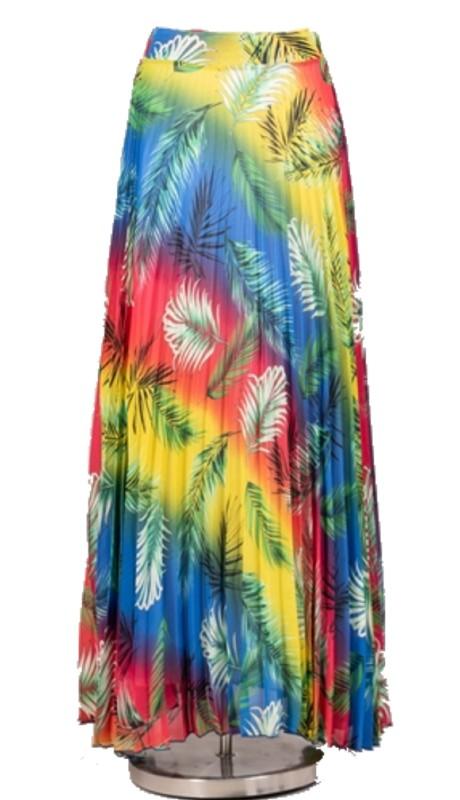 Karen T Designs 7008P ( 1pc Elastic Waist Print Pleated Maxi Skirt )