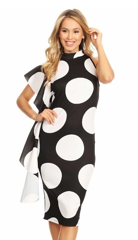 Karen T Designs 7009 ( 1pc Sleeveless Ruffle Polka Dot Dress )