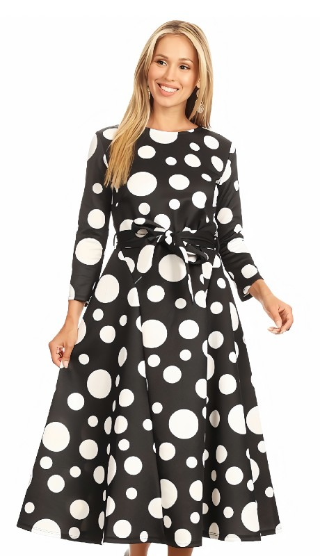 Karen T Designs 7011 ( 1pc Back Zip Belted Polka Dot Dress )
