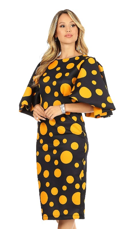 Karen T Designs 8033 ( 1pc Big Sleeve Midi Dress )