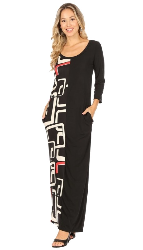 Karen T Designs 9043 ( 1pc Print And Solid Maxi Dress )