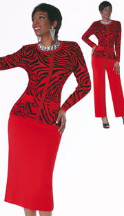 Tally Taylor Dress 5136-RE ( 3pc Knit Skirt Suit And Pant With Jewel Collar )