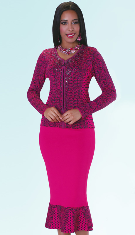 Kayla Dress 5133-F ( 2pc Knit Sunday Church Dress With Rhinestone Details )