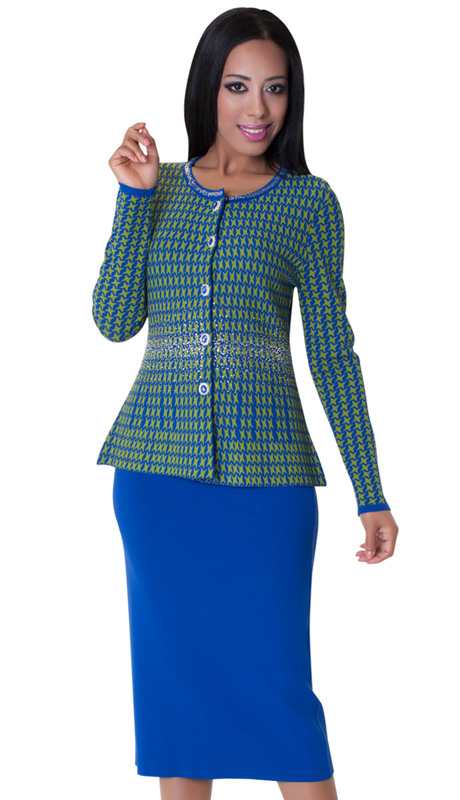 Tally Taylor 5159-LIM ( 2pc Knit Set Houndsthooth Pattern Jeweled Buttons Rhinestone On Jacket And Plaine Skirt )