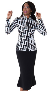 Tally Taylor 5164-BLK ( 2pc KNit Set Zig-Zag Print With Rhinestone On Collar And Jeweled Zipper Pull )