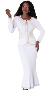 Tally Taylor 5163-WH ( 2pc Knit Set With Jeweled Zipper Pull And Beautiful Design With Rhinestone Details )