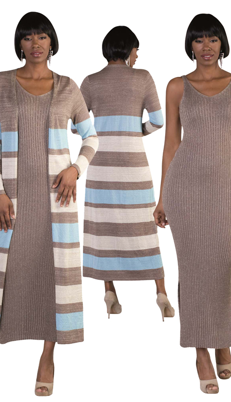 Kayla By Tally Taylor 5166 ( 2pc Exclusive Church Knit Set With Striped Long Cardigan And Metallic Tank Dress )