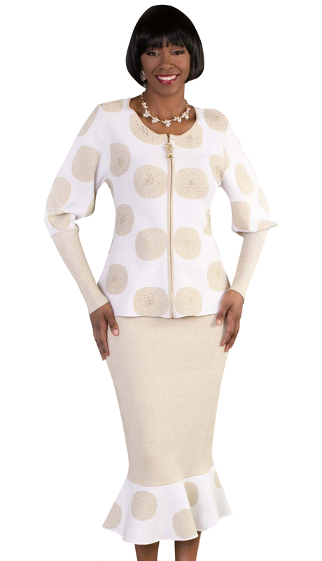 Kayla By Tally Taylor 5173 ( 2pc Womens Knit Sunday Suit In Two-Tone Polka Dot Print With Balloon Sleeves )