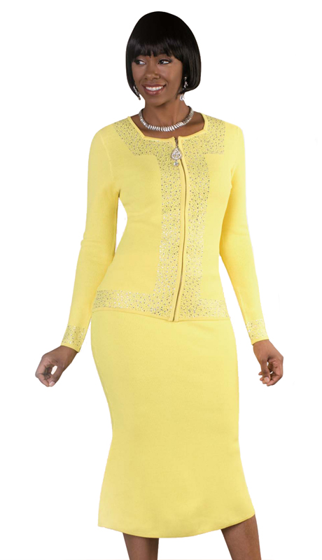 Kayla By Tally Taylor 5174-YEL (  2pc Ladies Knit Suit With Beautiful Rhinestone Detail )
