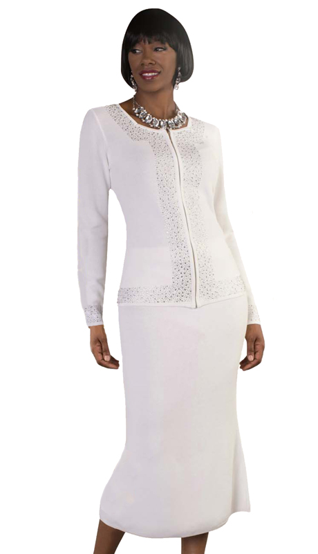 Kayla By Tally Taylor 5174-W ( 2pc Knit Church Suit With Beautiful Rhinestone Detail )