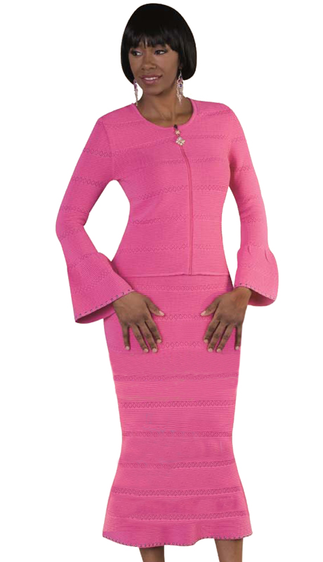 Kayla By Tally Taylor 5176-F  ( 2pc Ladies Knit Set For Church In Unique Knit Patterns With Flared Sleeve And Skirt )