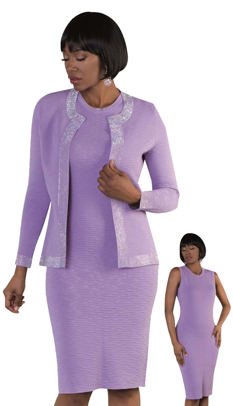Kayla By Tally Taylor 5179 ( 2pc Dress Knit Set For Sunday With Beautiful Rhinestone Details )