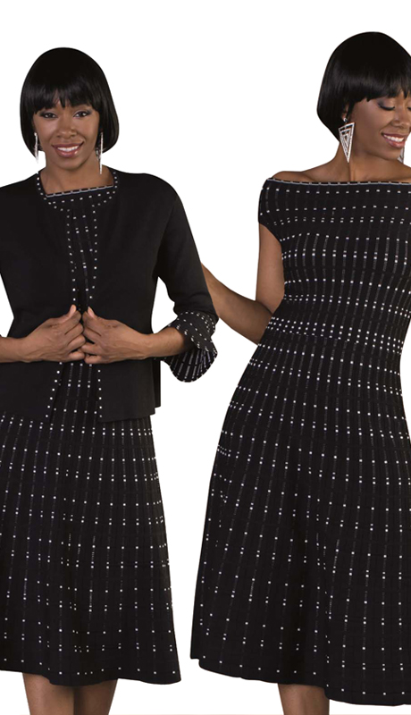 Kayla By Tally Taylor 51802 ( 2pc Knit Set For Church In Black And White Dotted Print With Flared 3/4 Sleeve )