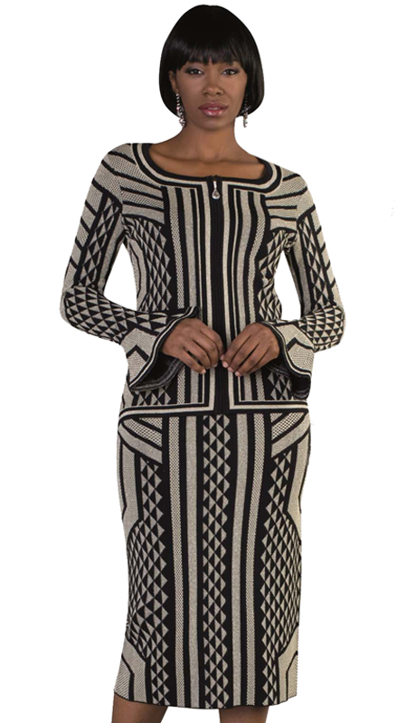 Kayla By Tally Taylor 5184-BC ( 2pc Knit Suit For Church In Geometric Prints With Flare Sleeve Cuff Detail )