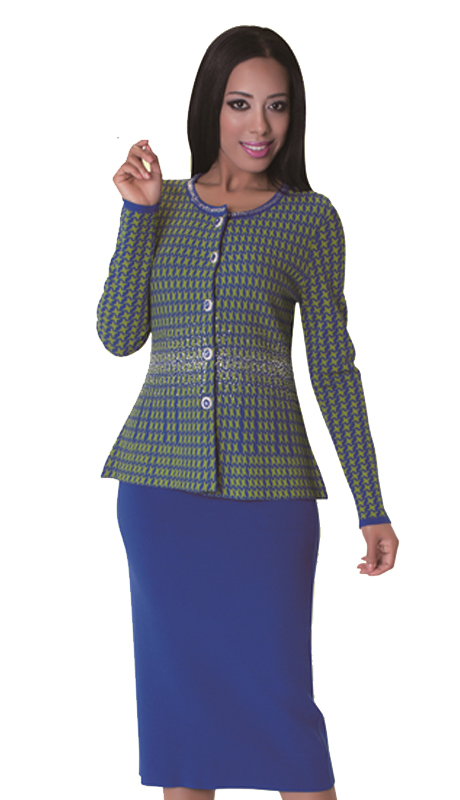 Kayla By Tally Taylor 5159 ( 2pc Ladies Knit Suit For Church With Houndstooth Design, Jeweled Buttons, And Rhinestone Trim On Collar )