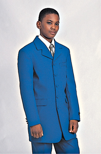 Boys Church Suit BL907B-F ( 2pc Single Breasted, Five Button, Solid Long Jacket With Pant )