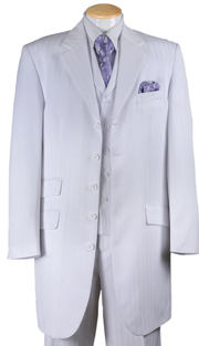 Boys Suit For Church BL29198-WHT ( 3pc 5 Button With Vest, Tone On Tone, Pleated Pants By Milano )