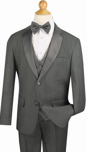 Boys Tuxedo 5TB-1-GR ( 5pc Single Breasted With Vest, Single Pleated Pants With Flexible Waist Band )