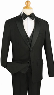 Boys Tuxedo 5TB-1-BLK ( 5pc Single Breasted With Vest, Single Pleated Pants With Flexible Waist Band )