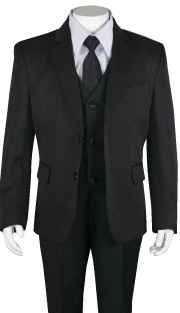 Boys Church Suit B-170-BLK ( 5pc Two Button With Vest )