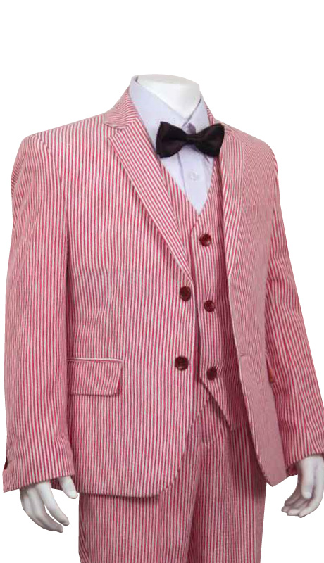 Boys Suit B-180-RE  ( 3pc Two Button With Vest And Stripe )
