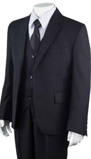 Boys Church Suit B-160-BLK ( 5pc Two Button )