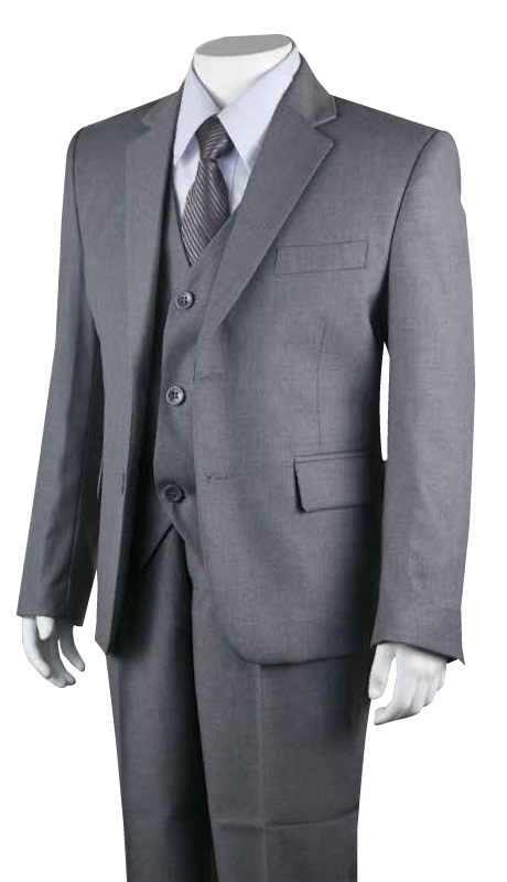 Boys Church Suit B-160-GRA ( 5pc Two Button )