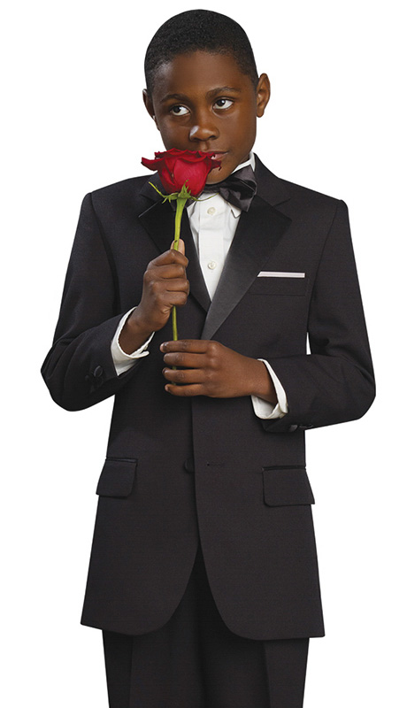 Boys Tuxedo BTUX-102 ( 2pc Single Breasted, 2 Button And 2 Flap Pockets, Notch Lapels, Solid Color Tuxedo, Matches Mens TUX102 )