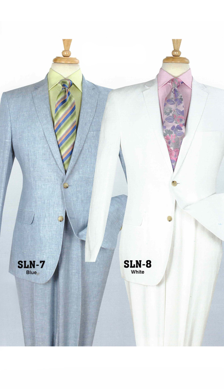 Iconic SLN-7 ( 2pc Mens Linen Suit With Flat Front Pants )