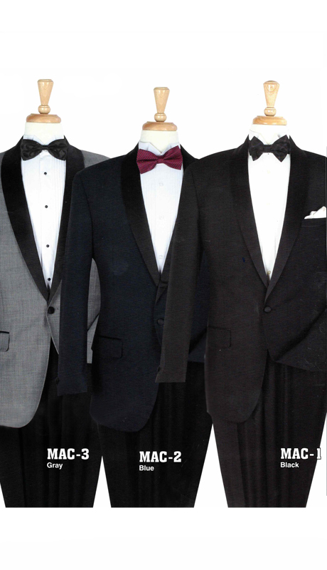Iconic Mac-2 ( 2pc Mens Tuxedo With Flat Front Pants And Satin Strip On Side )