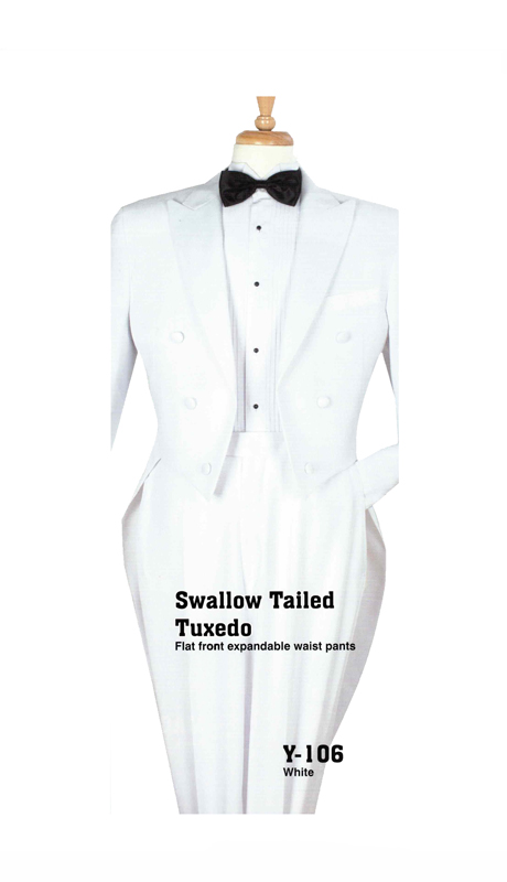 Iconic Y-106 ( 2pc Swallow Tailed Mens Tuxedo With Flat Front Expandable Waist Pants )