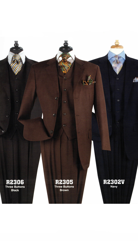 Iconic R2302 ( 3pc Luxury Mens Business Suits With Side Vents And Double Pleated Pants )