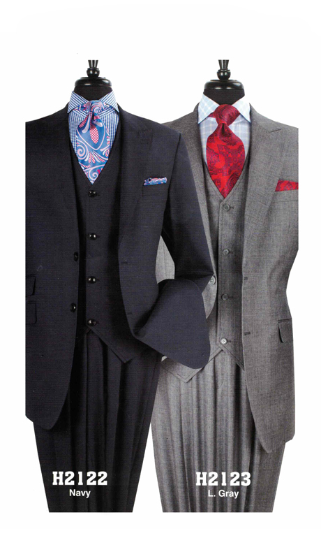 Iconic H2122 ( 3pc High Fashion Mens Suit With Semi Wide Leg Pants )