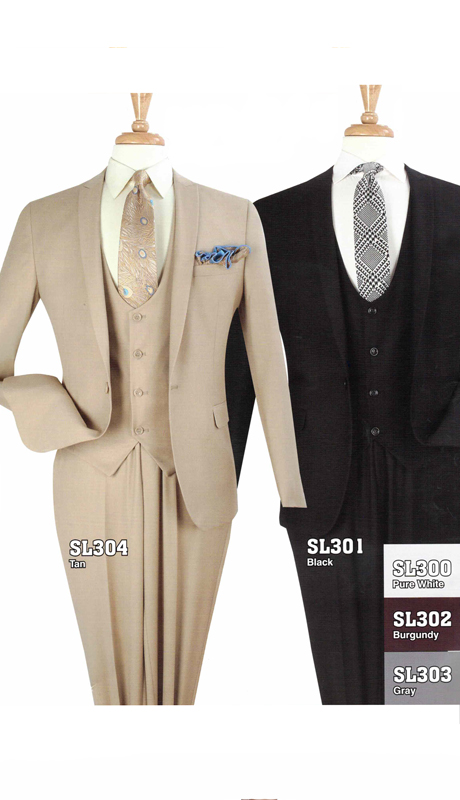 Iconic SL304 ( 3pc Luxury 1 Button Mens Suit, Super 130's )