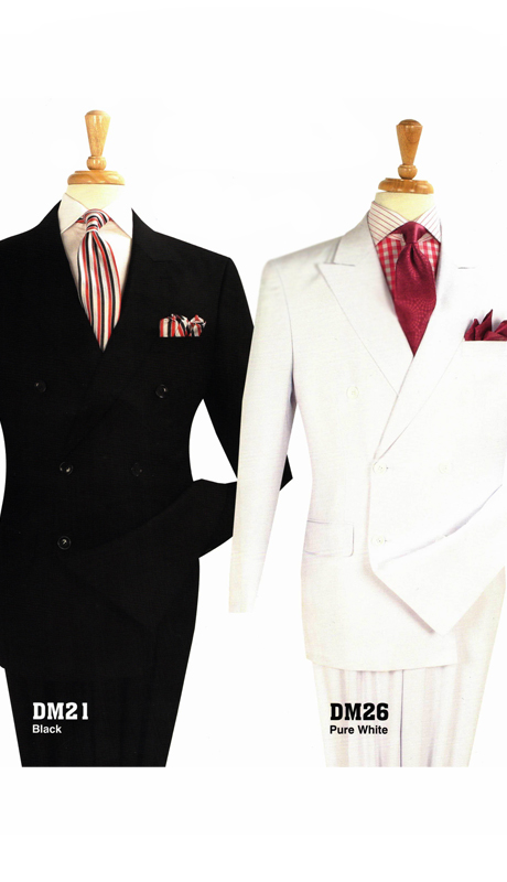 Iconic DM 21 ( 2pc Classic Double Breasted Mens Suits With Side Vents And Double Pleated Pants )