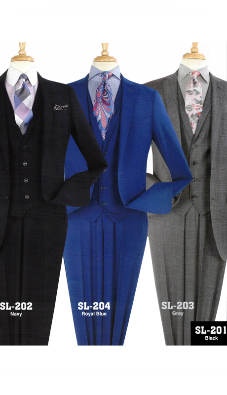 Iconic SL-201 ( 3pc Mens Suit With Flat Front Pants )