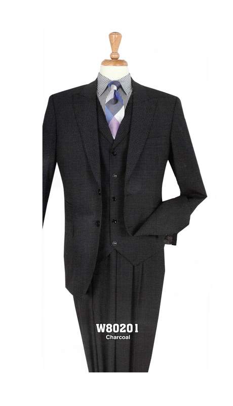 Iconic W80201 ( 3pc Mens Suit With Pleated, Expandable Waist Pants )